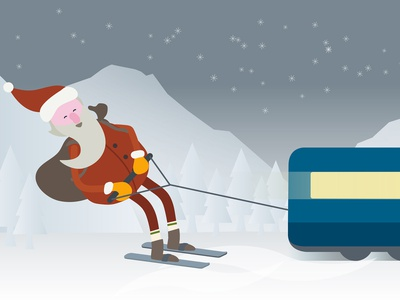 Illustration Siemens Christmas xmas star night mountain snow christmas siemens santa train animation design vector illustrator illustration