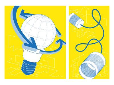 Fablab Illustration guide makers arrows globe can bulb fablab design illustration vector illustrator