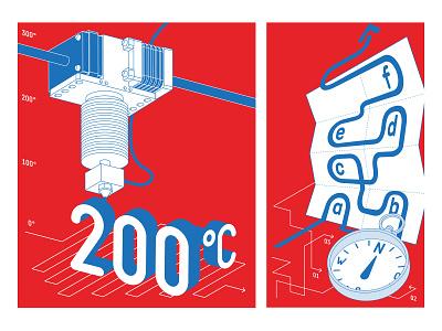 Fablab Illustration arrow navigation 3d printer giude makers fablab design illustration vector illustrator