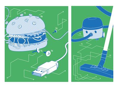 Fablab Illustration hoover vacuum cleaner arrow usb burger fablab design illustration vector illustrator
