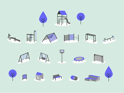 Playground Equipment Illustration play tower bench seesaw slide swing sport play tree playgound info graphic design illustration vector illustrator
