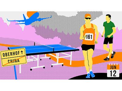 Race Walking Illustration berlin championship european sport podcast table tennis plane athletics athletes race race walking animation design illustration vector illustrator