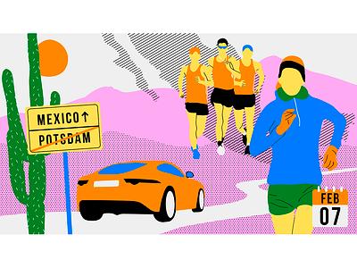 Race Walking Illustration mexico car athletics athlete championchip podcast european race walking race animation design illustration vector illustrator