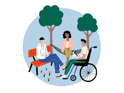 illustraton for free inclusive play inclusion drawing procreate people bench hammock wheelchair trees nature design illustration