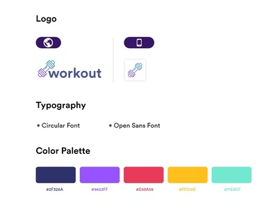 Workout Branding ui sport gym healthy healthcare health sports gymnastics gymnastic gym logo gym app clean design minimal