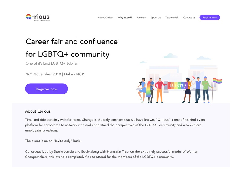 Qrious: Career fair and confluence for LGBTQ+ community minimal job portal diversity ui clean job board clean ui landing design landing page design landingpage lgbtqia lgbt job app job fair