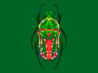 A beetle under the tree christmas colorfull color animal insect procreate sketch illustration