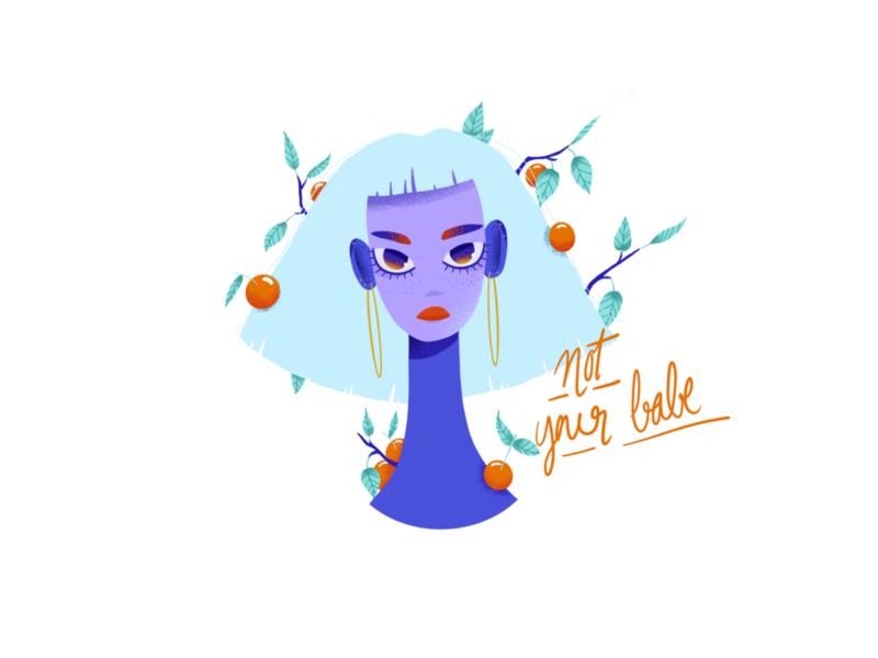 Babe summer woman portrait fruit vector drawing nature color design sketch procreate editorial illustration