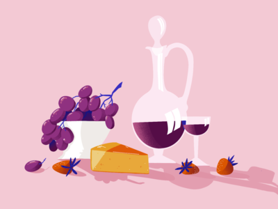 Happy hour strawberry fruit cheese wine food drawing color design sketch editorial illustration
