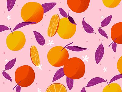 Morning juice pattern orange fruits summer color sketch illustration