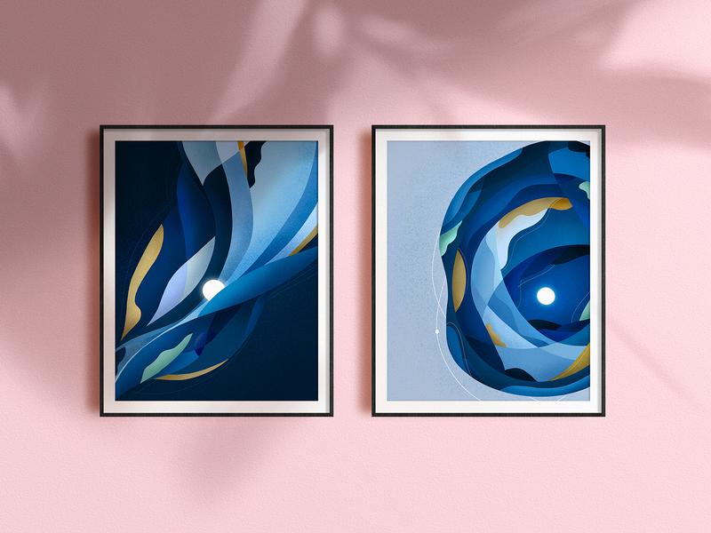 The Wave / The Star art portfolio blue vector poster art poster editorial illustration