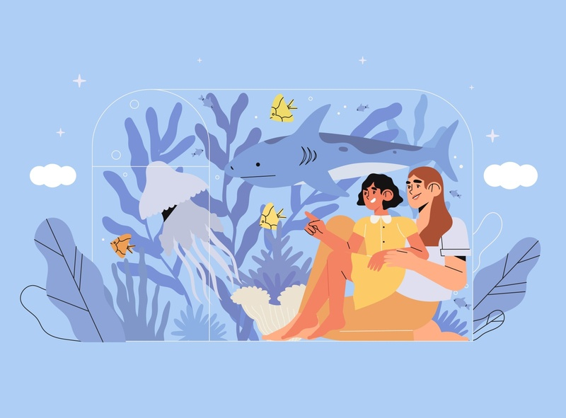 fish aquarium design seaquarium parent mother daughter parents fish oceanarium vector 2d illustration character adobe illustrator