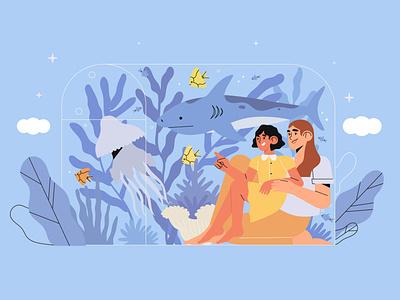 fish aquarium design seaquarium parent mother daughter parents fish oceanarium vector 2d illustration character adobe illustrator