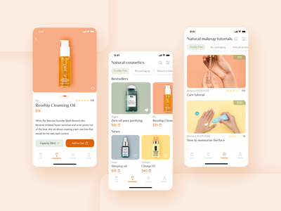 Natural Cosmetics App product video list video product list app concept ecommerce store app store ios pastel color tags light natural cosmetics ux ui