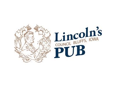 Lincoln's Pub Logo Concept classic navy copper restaurant pub illustration 1850s president abraham lincoln abraham logo