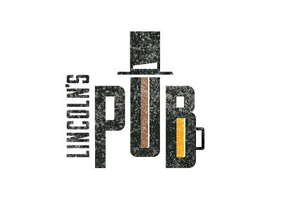 Lincoln's Pub Logo Concept texture gold copper type illustration fun hat pub lincoln logo