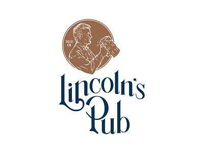 Lincoln's Pub Logo restaurant navy illustration hand-lettered pub lincoln copper penny logo