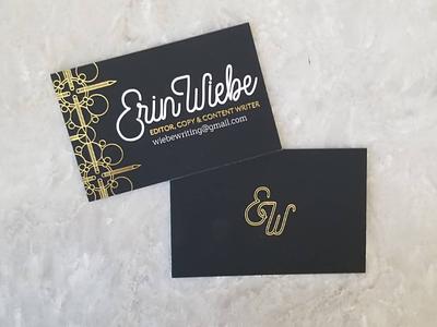 Writer Business Card writing card illustration foil handlettering business card logo