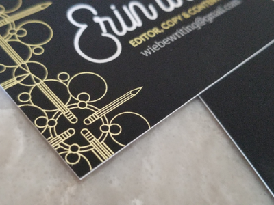 Writer Business Card Detail foil gold writing business card filligry illustration logo