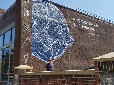 Lincoln's Pub Mural public art icon illustration quote logo lincoln mural pub