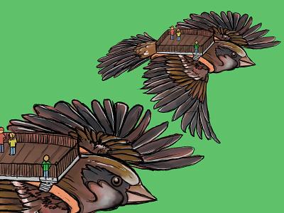 Sparrow Traveler digital illustration illustration sparrow travel