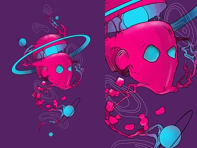 Galactic Head digital illustration digital art illustration space
