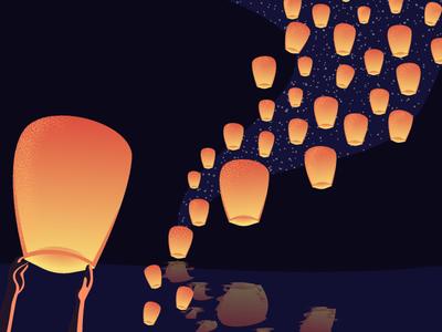 Do you believe in magic? dreams feelings lights festival floating lantern lanterns lantern festival illustration magic design love movie disney tangled