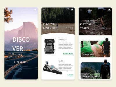 Discover Adventure adventure mountain mobile app user experience ux user interface ui