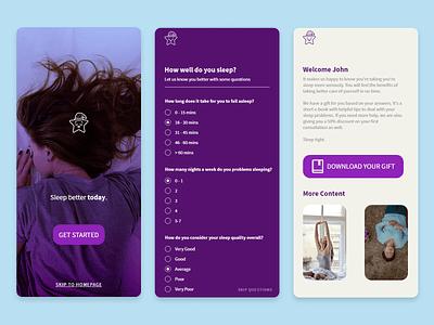 Sleep Better Today minimalist minimal purple sleep mobile user experience ux user interface ui