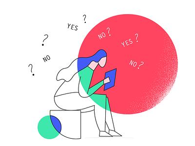 Decisions to make medium thinking lean startup illustration design