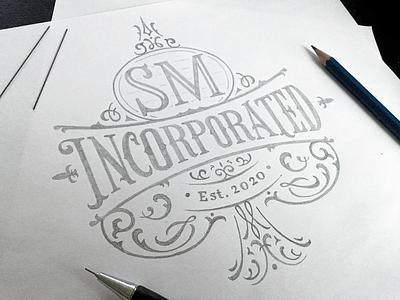 Final sketch for SM Inc. calligraphy pencilsketch branding logodesign logo sketch handlettering lettering