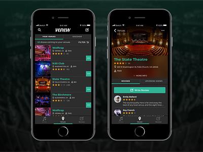 Venew App  – venue screens app dark app interface design branding mobile app ux ui