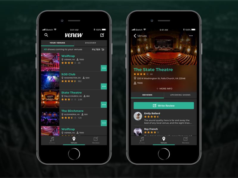 Venew App  – venue screens app dark app interface design branding mobile app ux ui