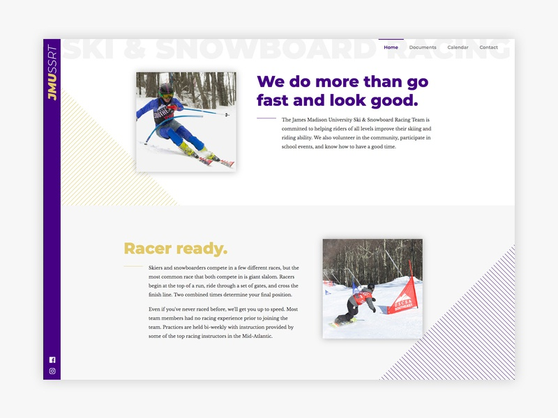 James Madison Ski & Snowboard Racing Team Website design branding ux ui web design