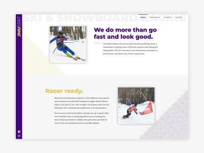 James Madison Ski & Snowboard Racing Team Website design branding ux ui web design