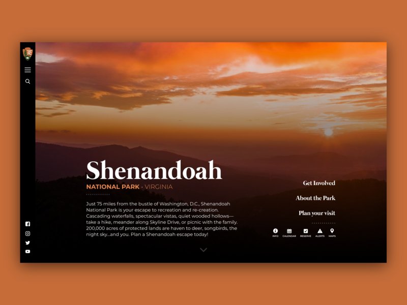 Shenandoah National Park – Landing Page Reimagined national parks dark app ui branding desktop