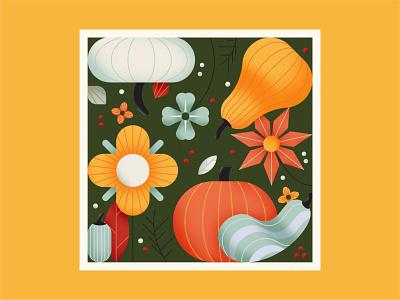 It's Fall Y'all autumn leaves autumn nature season flower pumpkin gourd pattern october fall texture design illustration