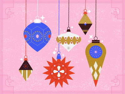 Ornaments, for Christmas? pink christmas vintage holiday ornaments mid century retro texture design illustration