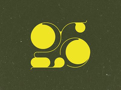 Twenty Six birthday number retro 6 2 26 twenty numerals typography type illustration