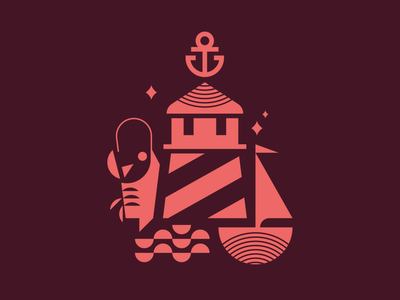 New England coastal water icon seafood lighthouse new england vector design illustration