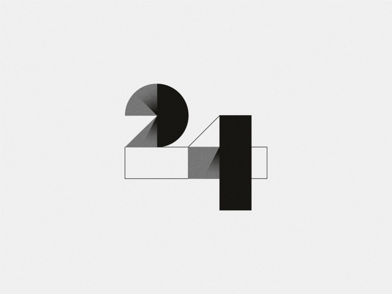 Birthday numbers gradient blackandwhite abstract two four twenty 24 number vector typography type texture photoshop illustrator design illustration
