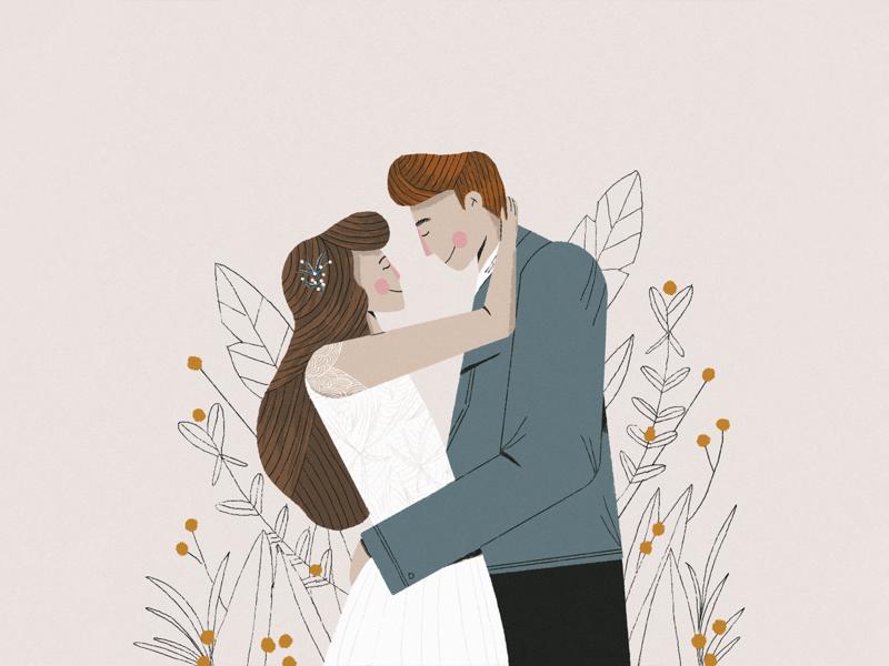 Bri + Hunter characterdesign boy girl plants people marriage couple characters love wedding texture photoshop illustrator design illustration