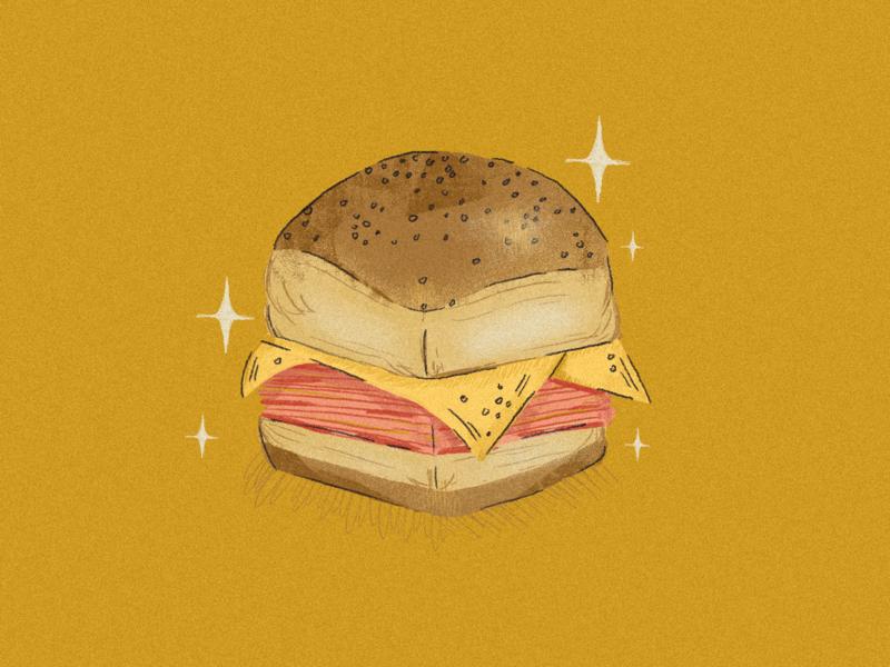 Superb Owl bread superbowl cheese gold sandwiches retro photoshop design illustration
