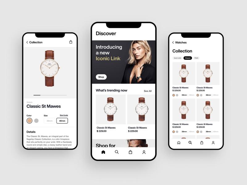 Daniel Wellington Mobile UI Concept xd minimal branding design app ui ux