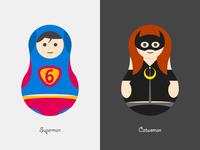 Superman&Catwoman superman catwoman matryoshka