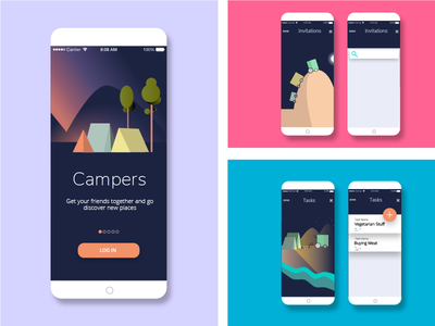 Pack up! interface ui app landscape cars tent camper campers camping