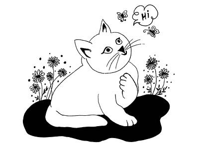 Say Hi to my Kitty 🐱 art illustrator branding brushes vector typography artlover procreate design illustration