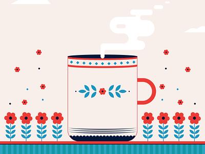 Let's have a Cup of love . flowers 2d imagination shape color adobe illustrator vector illustration