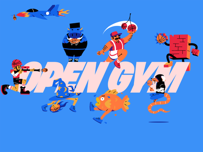 Open Gym brand procreate characters logo basketball