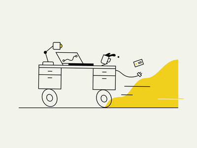 Mobile Office car workflow yellow travel coffee office illustration